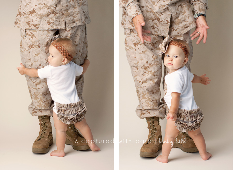 military dad in uniform, boots with toddler, baby girl