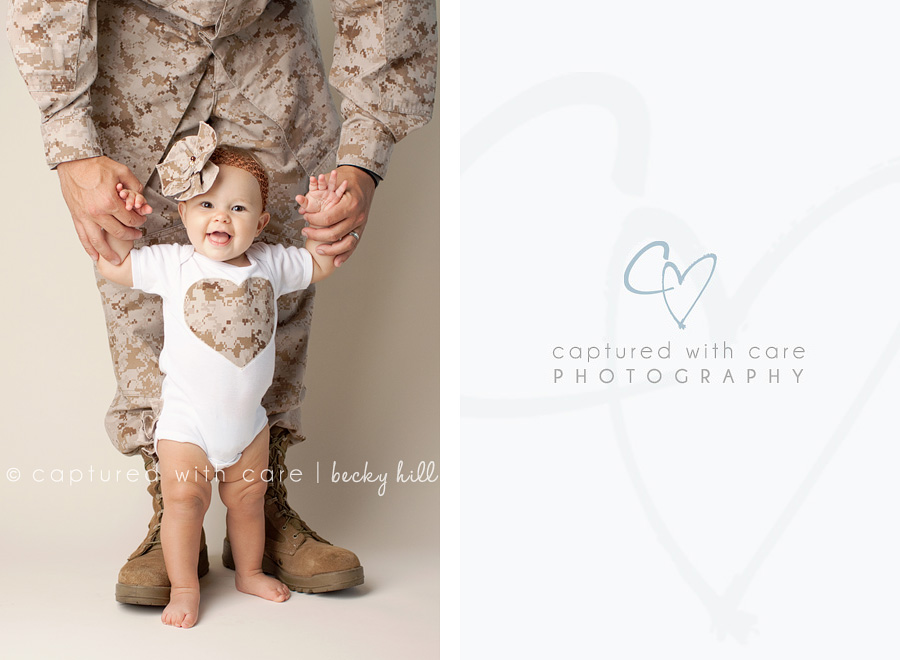 Happy, smiling one year old, daddys little girl, camo shirt, camo bow, dad in uniform, military family picture