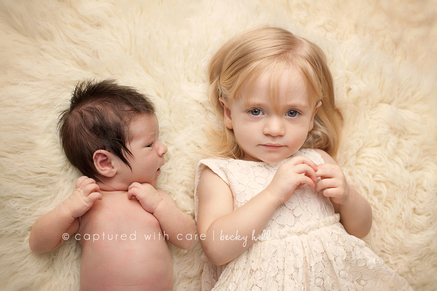 sibling photo, newborn and two year old sister